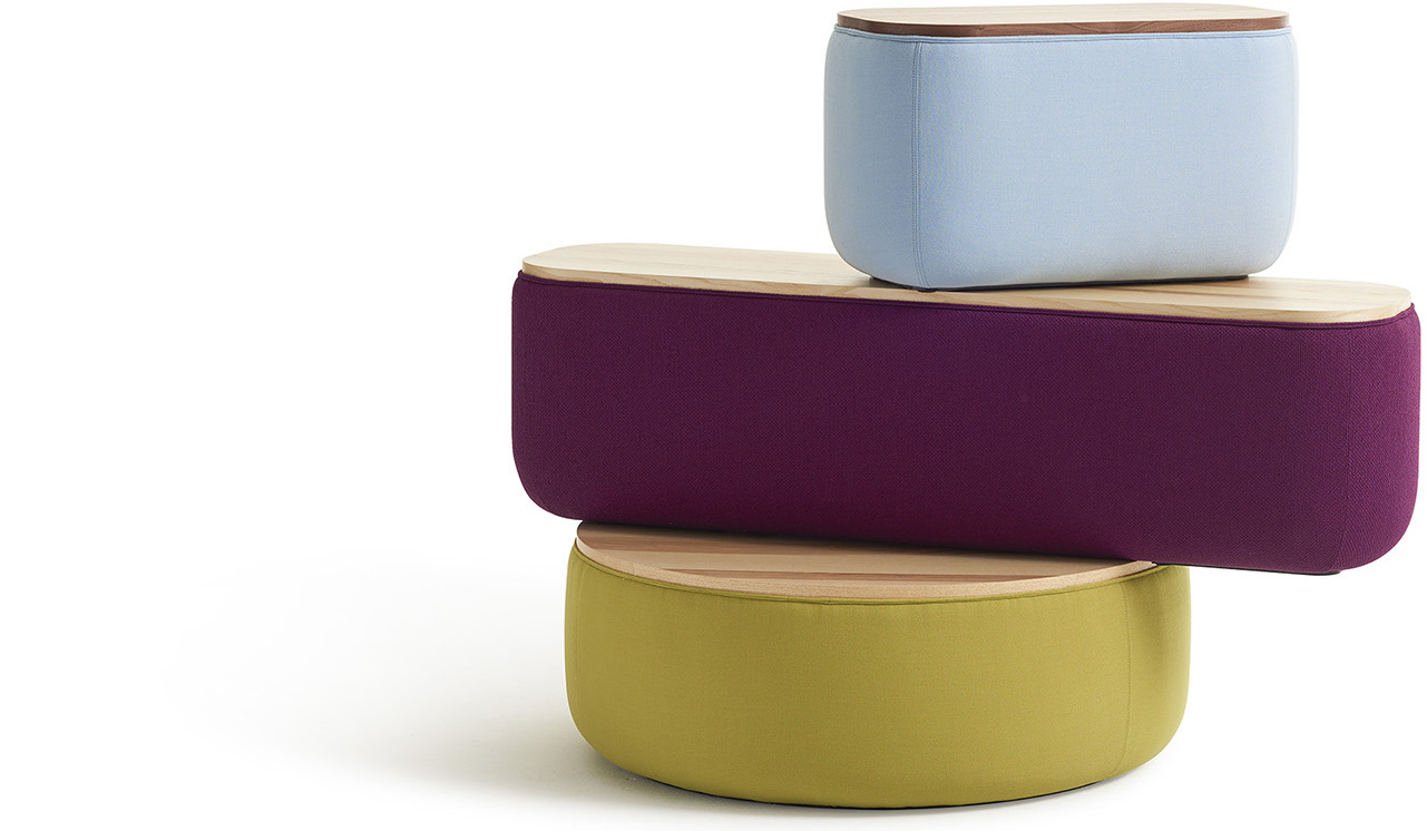 A stack of colorful Breck Benches by Most Modest and Hightower.